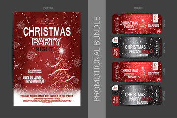 Vector Christmas night party promotional bundle of red posters and tickets with Christmas tree, snowflakes pattern and snowfall on the dark gray background.