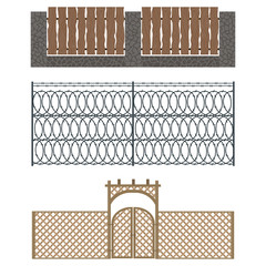 Different designs of fences and gates isolated vector.