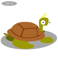 Cute turtle clip art. Vector cartoon illustration with simple gradients.