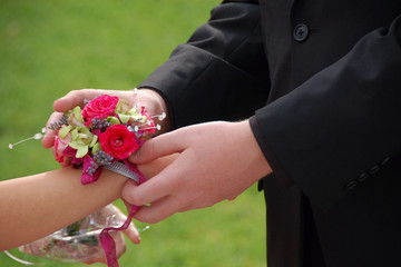 Young man slides wrist corsage onto prom date