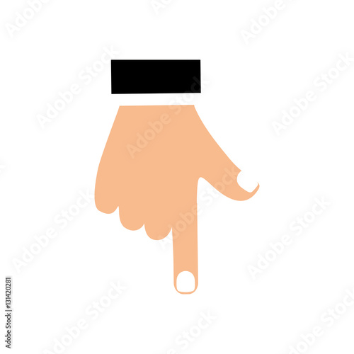 Hand Pointing Down Icon Vector Illustration Graphic Design Stock