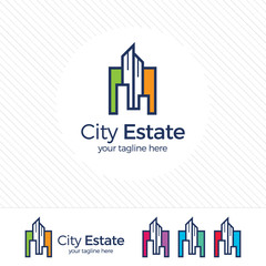 Real estate logo design vector with flat color concept. Clean and modern design of real estate and city building logo template.