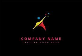 Colorful star man logo