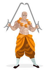 shaolin monk with two hook tiger swords