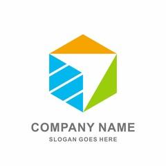 Geometric Hexagon Triangle Arrow Paper Plane Technology Connection Business Company Stock Vector Logo Design Template