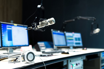 modern equipment in broadcast studio