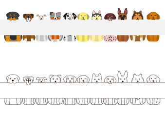 large dogs border set, with long blank board in their mouthes