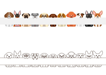 small dogs border set, with long blank board in their mouthes