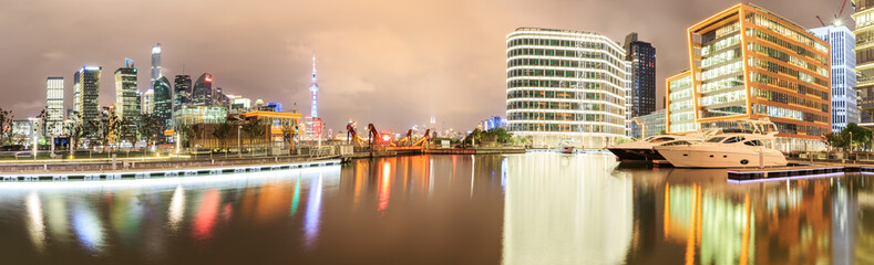 Modern urban architectural landscape Panoramic view at night in Shanghai