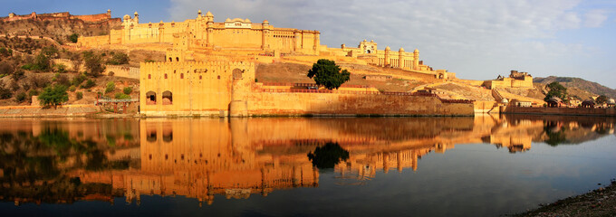 Panorama of Amber Fort reflected in Maota Lake near Jaipur, Raja