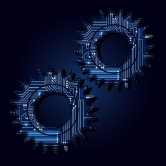 Gear with a technological electronics circuit..