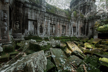The ruins of ancient temples at Angkor Wat site in Cambodia