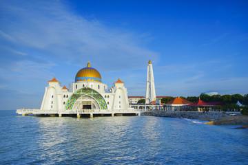 Morning view at Malacca Straits Mosque ( Masjid Selat Melaka).