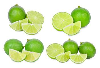 set of fresh lime isolated on white background