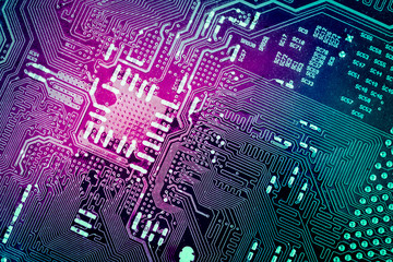complexity circuit board closeup, abstract technology background