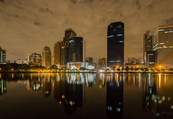 cityscape Benjakiti Park in Bangkok, Thailand