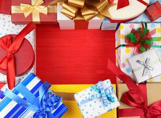 Set of gift boxes on color background
