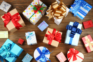 Set of gift boxes on wooden background