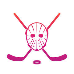 Hockey mask and crossed sticks over white