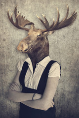 Foto op Canvas Hipster Dieren Moose in clothes. Concept graphic in vintage style.