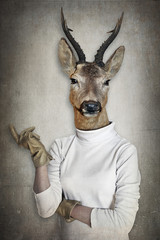 Foto op Canvas Hipster Dieren Deer in clothes. Concept graphic in vintage style.