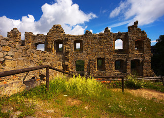 Ruins of the medieval Gothic monastery in town of Oybin, Germany