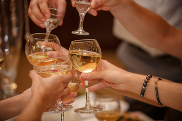 Toast at celebration, group of people celebrating holiday with glasses with alcoholic drinks