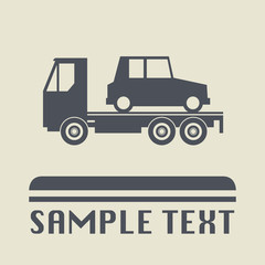 Car salvage and towing icon or sign