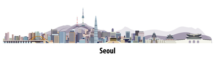 Fototapete - abstract vector skyline of Seoul