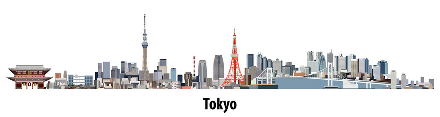 Fototapete - abstract vector skyline of Tokyo
