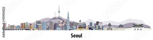 Fototapete abstract vector skyline of Seoul