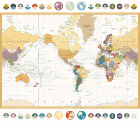 Fototapete - America Centered World Map with flat icons and globes.Vintage colors