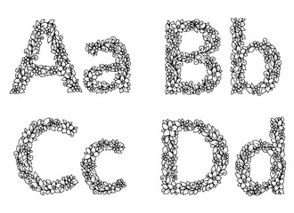 Vector illustration zentangl, flower letters alphabet. Doodle drawing. Meditative exercise. Coloring book anti stress for adults. Black and white.
