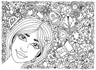 Vector illustration zentangl, schoolgirl in a frame with school supplies. Back to school. Doodle drawing. Meditative exercise. Coloring book anti stress for adults. Black and white.