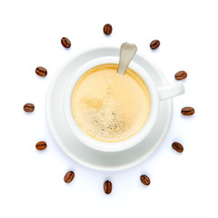 cup of coffee stylized like watch on white background