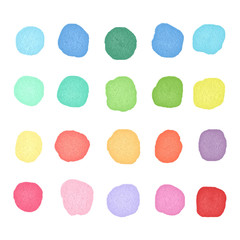 Set watercolor dos. Colorful watercolor blobs. Round shape background
