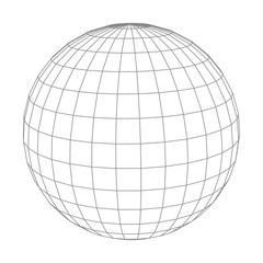 Abstract vector wireframe sphere globe on white isolated