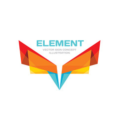Abstract origami wings - vector business logo template concept illustration in flat style. Colored design element.