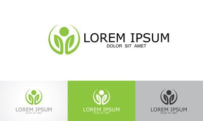round circle leaf healthy logo