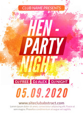 Hen-party flyer invitation design template. Girls event show deisgn. Ladies feminine night party flyer template