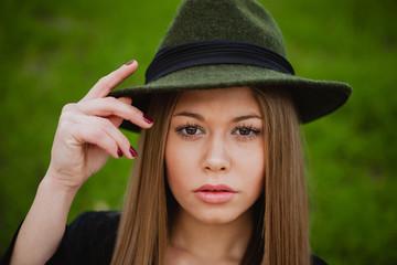 Pretty girl wearing hat