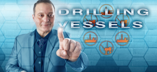Cheerful Engineer Pushing DRILLING VESSELS
