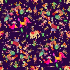 Seamless animal print for children with cock, chicken, elephant, crocodile, monkey, birds, cat, kitten, Sirin bird and flowers. Fairy tale. Print for fabric. Year of the rooster. Packaging design.