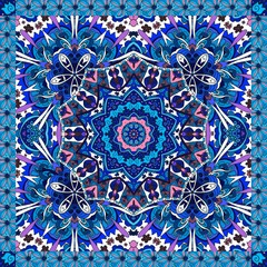 Decorative floral ornament in pink and blue tones. Can be used for cards, bandana prints, kerchief design, tablecloths and napkins. Oriental pattern. Flower mandala.