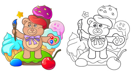 cartoon teddy bear is among the sweets