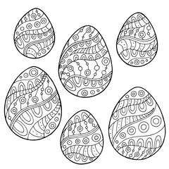 Pattern Easter egg graphic black white doodle illustration vector