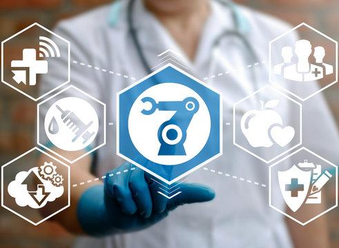 Medical robot computing future concept. Medical operation involving robot. Robotic Surgery. Manipulators performing surgery. Medicine robot hand modern automation health care innovation technology