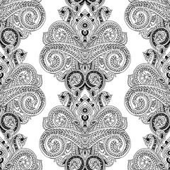 Abstract geometric seamless paisley pattern. Traditional oriental ethnic ornament, black outlines on white background. Textile design.