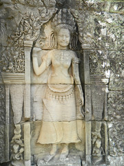 Angels (Apsara) sculpture on the wall of Angkor Wat, Cambodia