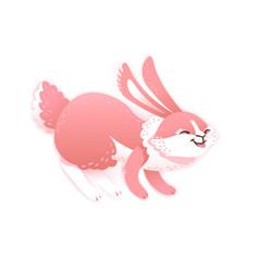 Smiling cartoon rabbit. Funny bunny. Cute hare. Vector illustration